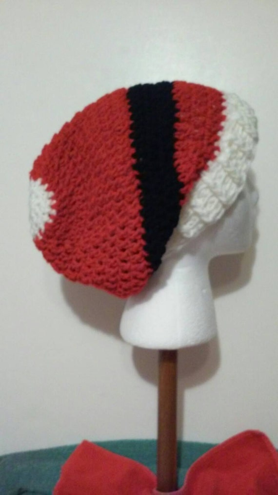 8b616014cb5da Red White and Black Crochet Slouchy Beanie Santa Hat