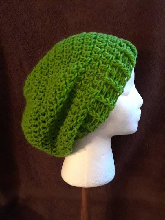 Green Crochet Slouchy Beanie Hat St. Patrick s Day  c0cc25dc42a