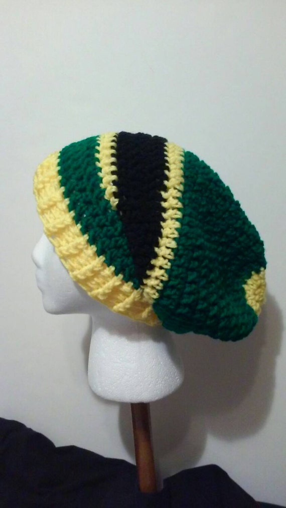 Green and Yellow Crochet Hat Green Yellow and Black-Striped  f8d03addcc3