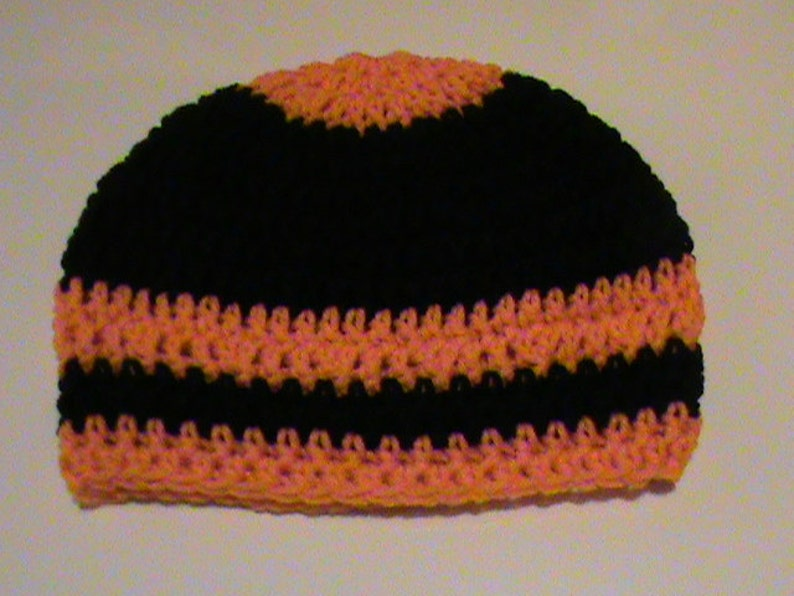 Halloween Crochet Hat Orange and Black Crochet Hat #101 FREE SHIPPING Crochet Hats Black and Orange Crochet Beanie Ready to Ship