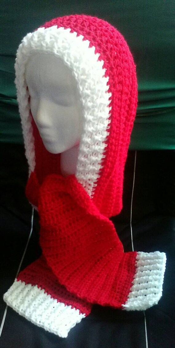 Red And White Crochet Scoodie Hooded Scarf Christmas Crochet Etsy