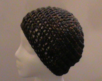 Brown Crochet Hat, Lightweight Variegated Brown Crochet Hat, Child/Teen/Adult Small Size, Crochet Hat, FREE SHIPPING, Ready to Ship, B46-067