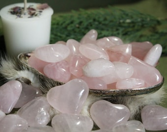 Rose Quartz set with Hibiscus Flowers/Crystal Grids/Love and Compassion Healing Crystals/Witchcraft/Wiccan Rituals/Mother's day gift