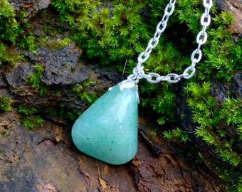 Green Adventurine Gemstone Necklace/Healing Yoga Meditation Jewelry/Aqua Green Gemstone Crystal/Gifts for Grads/Healing Crystals