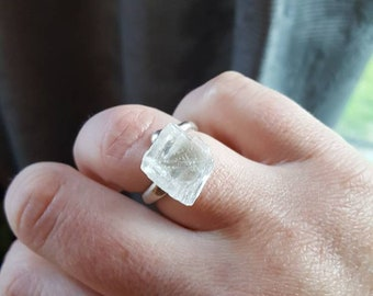 Sterling Silver Selenite ring/Crystal Statement ring/Semi adjustable/Solid Sterling/Gemstone Healing/Selenite Cubic ring/Magical Jewelry