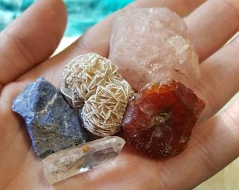 Raw Crystal Gemstone Collection | Mental Clarity | Love Crystal Set | Healing Gemstones | Crystal Magic | Metaphysical Pagan Supplies