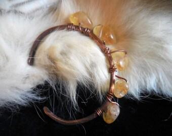 Hammered Copper Citrine Bangle Bracelet / Adjustable Copper Bracelet / Healing Gemstone Jewelry / Wiccan Bracelet / Pagan Jewelry