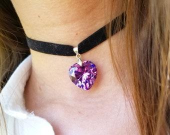 The Sweetheart Choker - Purple Crystal Heart Necklace