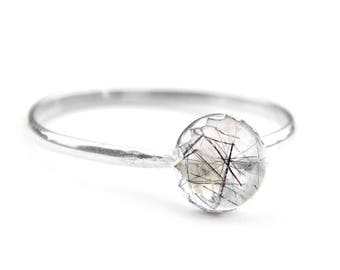 Tourmalated Quartz Sterling Silver Ring | Stacker ring, Stackable, fine, minimalist
