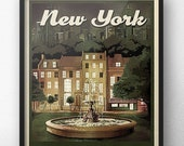 Friends Fountain New York Retro Vintage Travel Poster Inspired by Friends TV Show Central Park