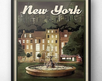 04c029cdef Friends Fountain New York Retro Vintage Travel Poster Inspired by Friends  TV Show   Central Park