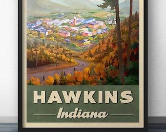 Hawkins Indiana Retro Vintage Travel Poster
