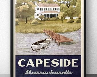 Capeside Massachusetts Retro Vintage Travel Poster