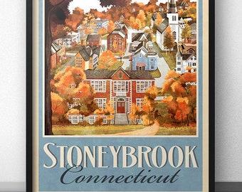Stoneybrook Connecticut Retro Vintage Travel Poster