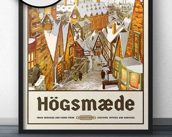 hogsmeade travel poster vintage retro style inspired by harry potter