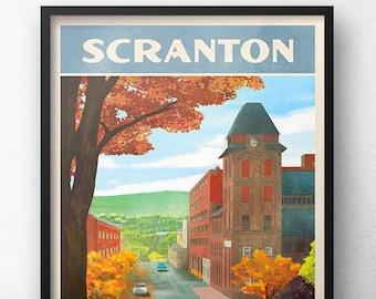Scranton Retro Vintage Travel Poster