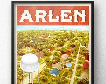 Arlen Texas Heimlich County Retro Vintage Travel Poster