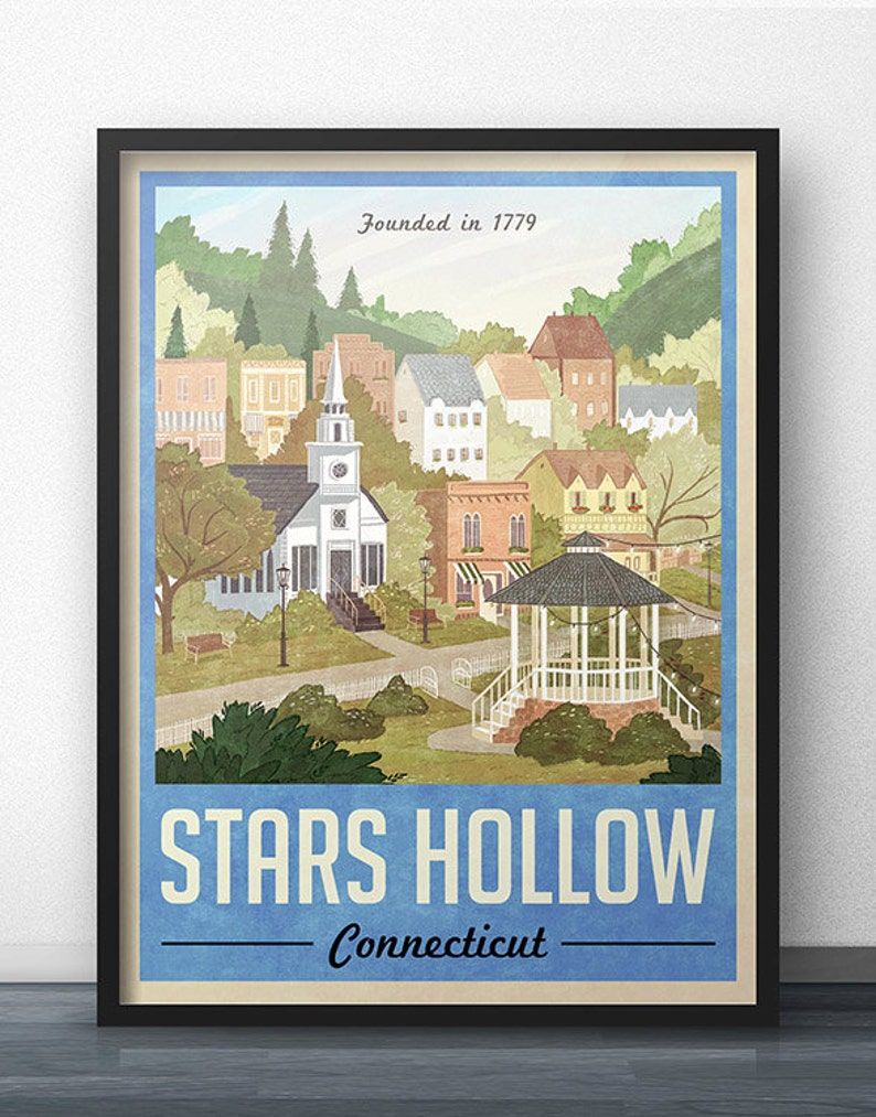 Stars Hollow Poster  Vintage Travel Poster  Inspired by image 0