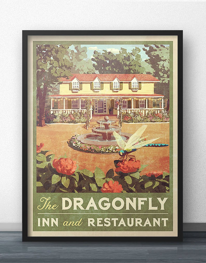 Dragonfly Inn Vintage Poster  Inspired by Gilmore Girls image 0