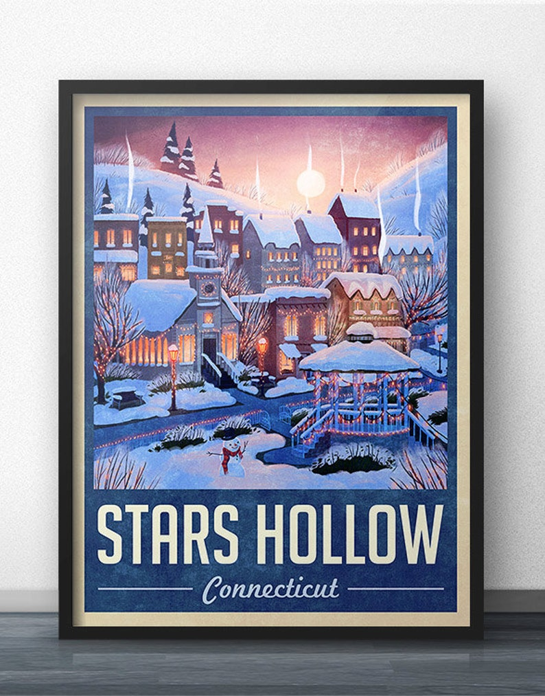 Stars Hollow Winter Holiday Travel Poster  Inspired by image 0