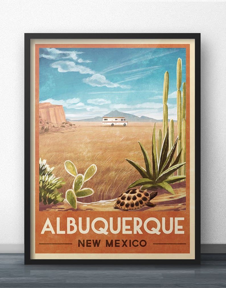 Breaking Bad RV Vintage Travel Poster of Albuquerque New image 0