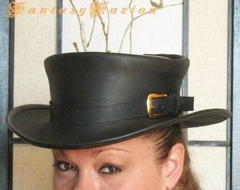 f080343b0fb Steampunk Hat Classic Explorer Vintage Buckle Victorian Black Leather  Standard SHORT Top Hat