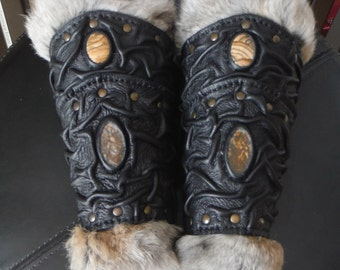 Medieval VIKING Wizard Druid Warrior LARP Leather Forearm FUR BracerS with Gemstones