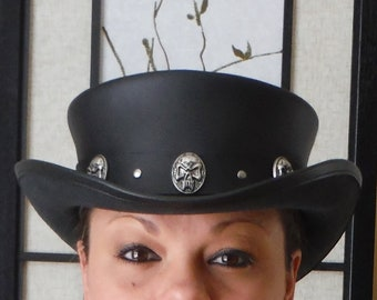 Steampunk Hat Classic Rocker Skull Band Gothic Leather Standard SHORT Top  Hat 3c439f2389c3