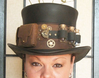 Steampunk Hat Futurist Traveller Sci Fi Gears Leather HIGH Top Hat