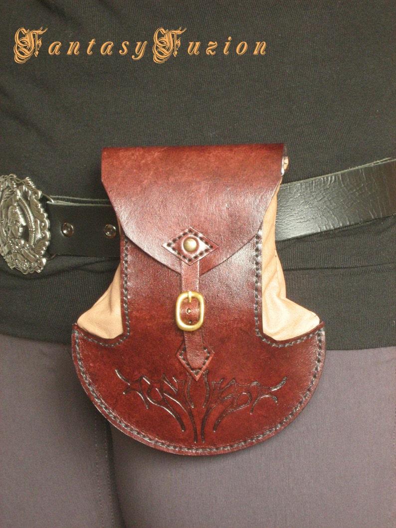 Cinturón Bolsa Del Celta Enano Medieval Estilo Ori Cuero Hobbit Diseño gbyY6f7