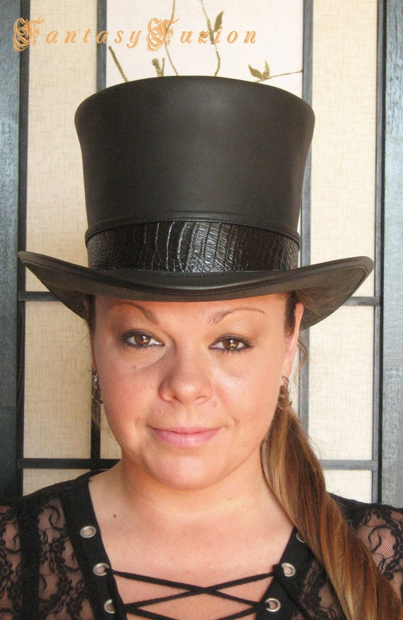 84e17fc2d8d Steampunk Hat Victorian Classic Leather Standard HIGH Top Hat