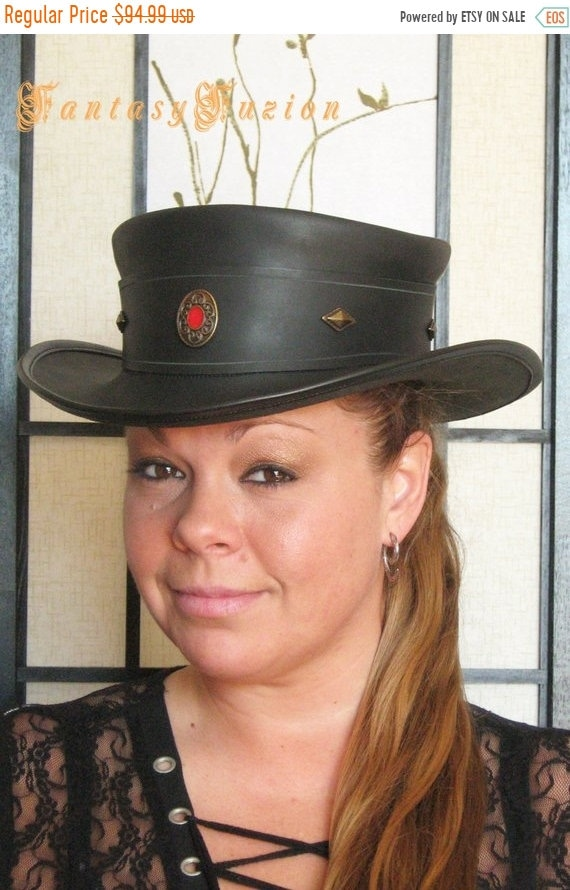 ON SALE Steampunk Hat Victorian High Class Vintage Leather  6e4a2825228
