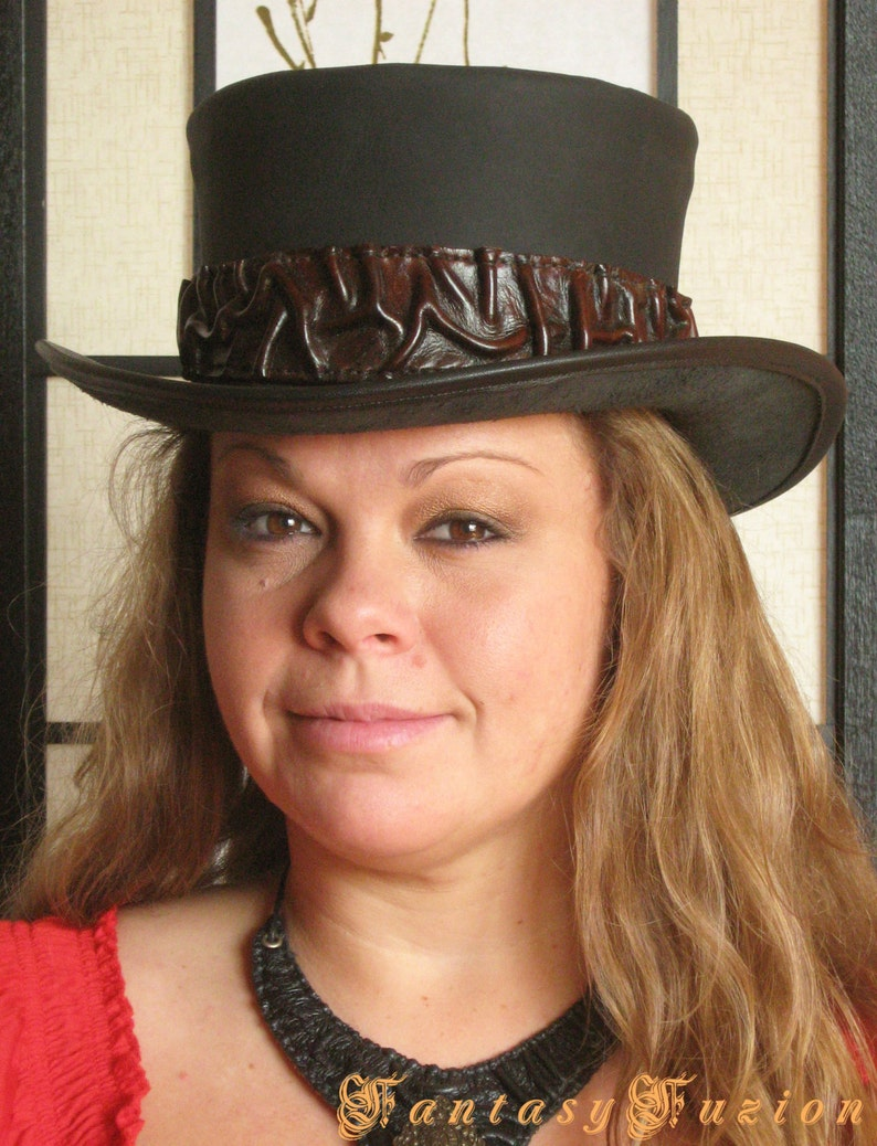 Steampunk Hat Victorian Leather Standard Top Hat with Belt and Conchos