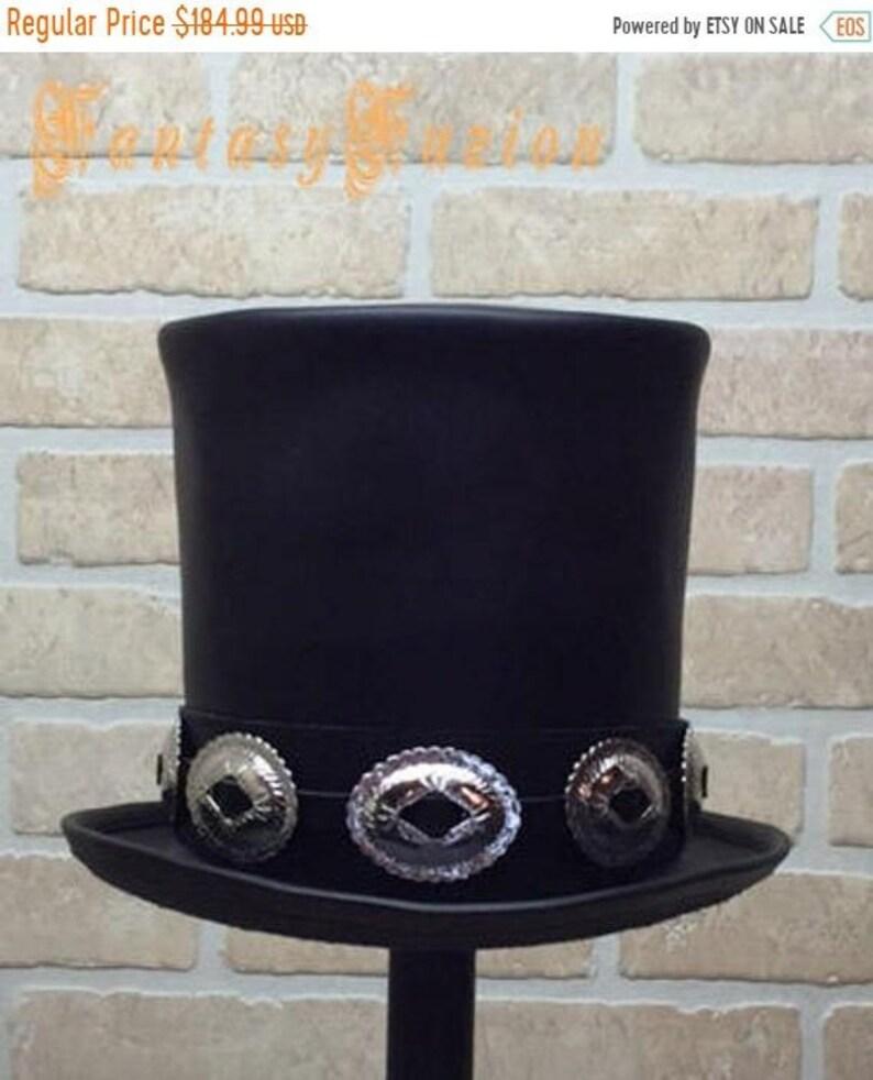 Rocker Black Leather Slash Style Top Hat CROWN 7 1 2 inches  854753c13a4