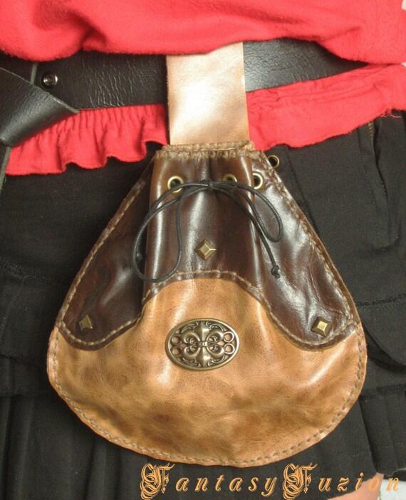 Medieval Elven Celtic Hobbit Style Leather Belt Pouch