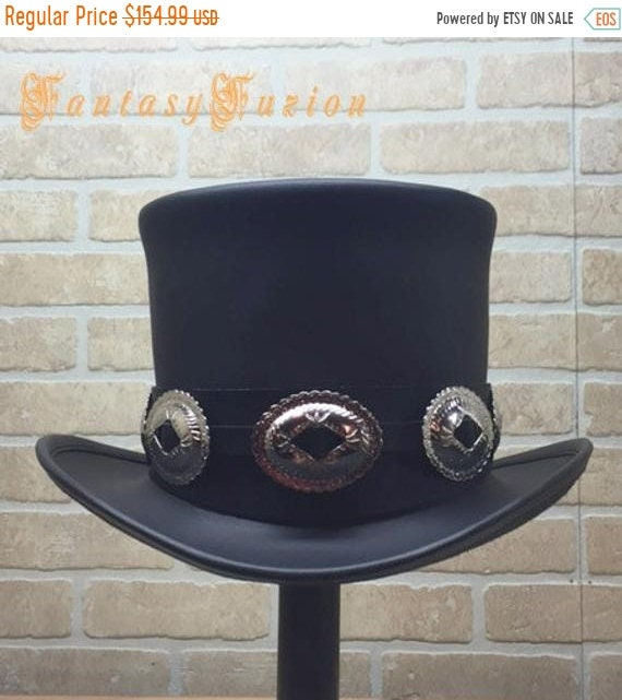 ON SALE Rocker Black Leather Slash Style Top Hat Conchos  e69677b3651