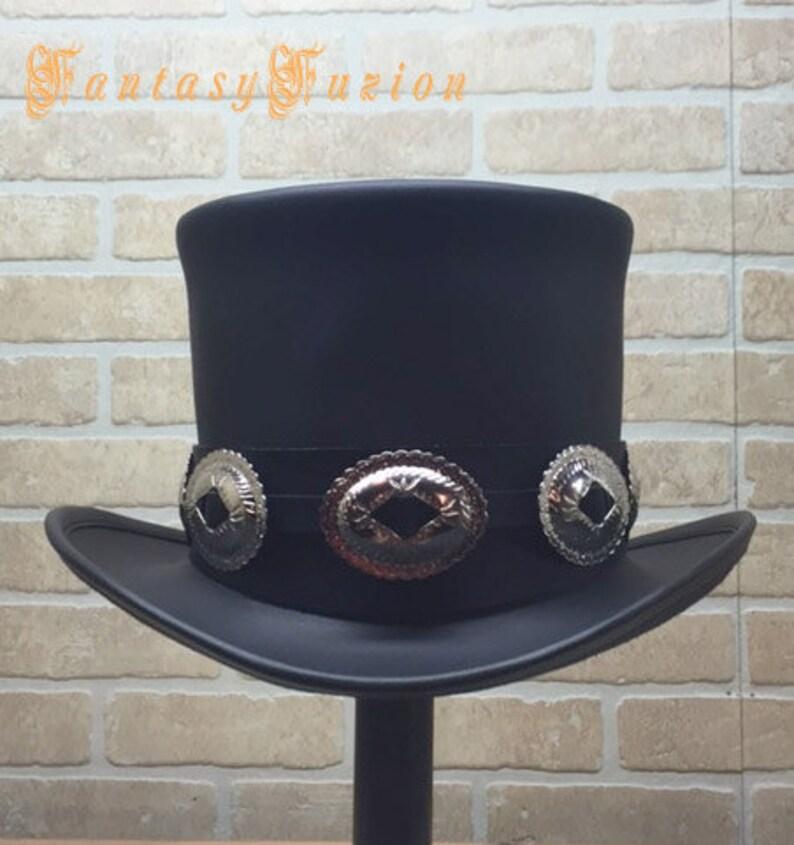 4873d374356411 Rocker Black Leather Slash Style Top Hat Conchos Hatband | Etsy