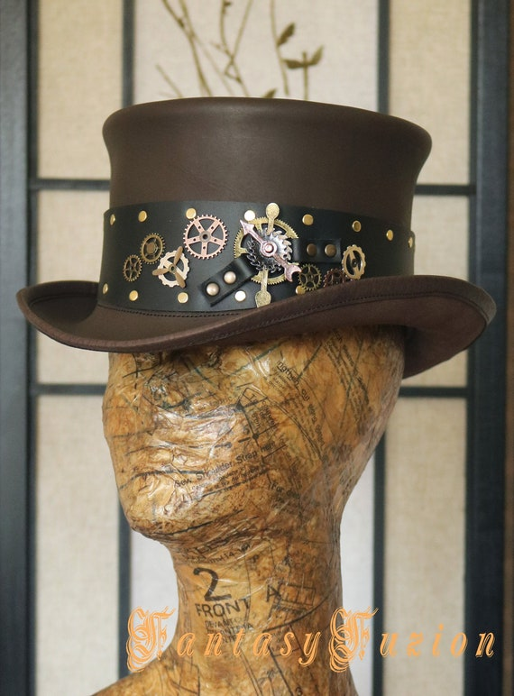 Steampunk Hat Victorian Leather Standard Top Hat with Custom Colorful Band