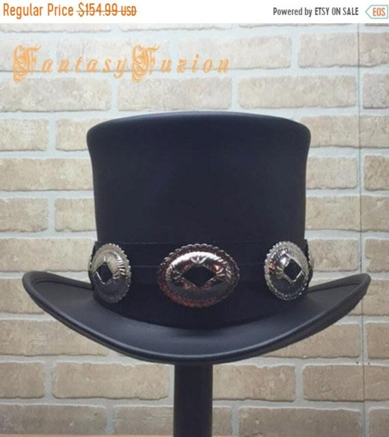 Rocker Black Leather Slash Style Top Hat Conchos Hatband  03c1cd3c9f5d