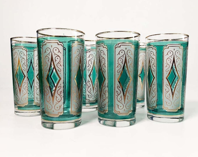 Vintage Emerald Blue and Gold Diamond Glasses - Set of 6 Turquoise Tall Highball Glass Mid century Glasses Barware Gold Rim Rimmed Glasses