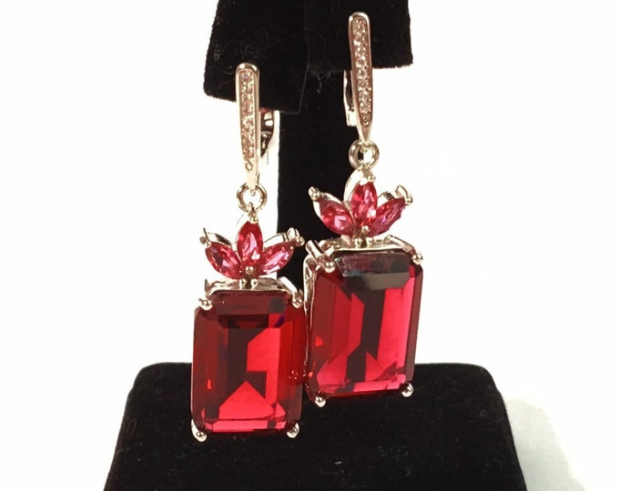 Vintage 925 Silver & Red Pink and Clear Paste Earrings - Sterling Silver Dangle Drop Latch Back - Retro Rectangle Drop - Statement Jewelry