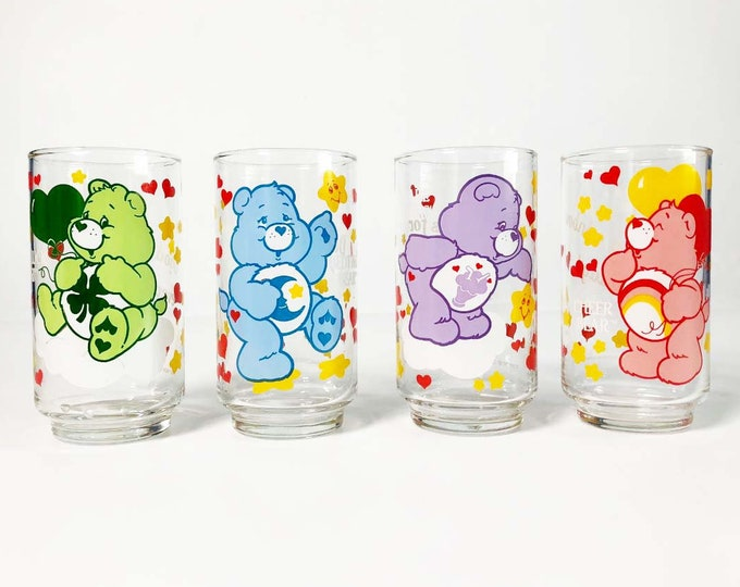 Care Bears Drinking Glasses - Set of 4 1986 Vintage Tumblers Libby Glass Collector Cups - Share Cheer Bedtime Good Luck Bear 1980s Retro