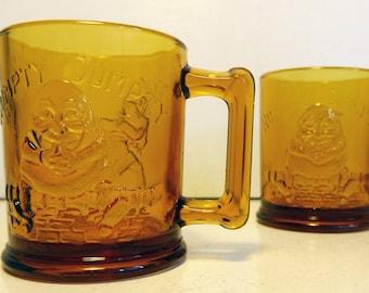 "Vintage TIARA Indiana GLASS Amber Humpty Dumpty & Tom Tom the Piper's Son Mugs -""Little Ones"" Circa 1970 Children Retro Drinking Mugs"
