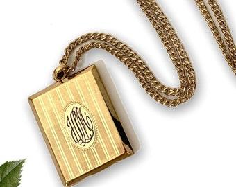 Vintage Victorian Bates & Bacon Locket - Large Rectangular Pendant Necklace on Long Chain - Pinstripes w/ Monogram cursive JLM on Front