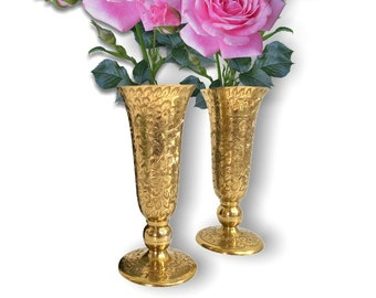 """2 Vintage Etched Brass Vases - Pair Retro Home Decor - Two Made in India 8 """" High Brass Vase"""