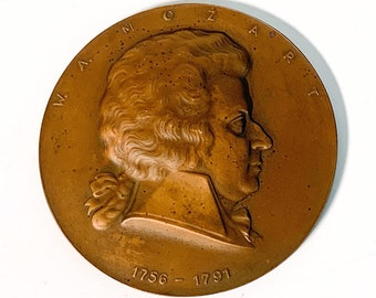Vintage Mozart Bronze Commemorative Medal - Round Re Minted Token of Classical Composer Wofgang Amadeus Mozart Ca 1960s