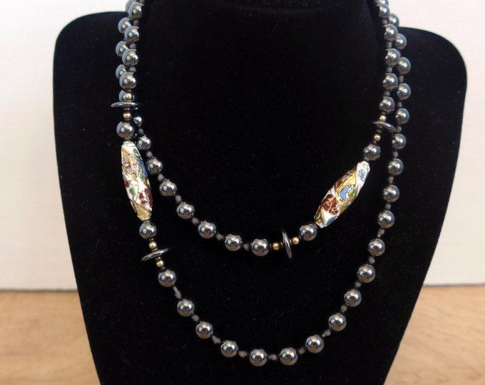 Vintage Hematite and Cloisonné Bead Necklace - Long Bead Necklace with Hematite and Cloisonné Beads