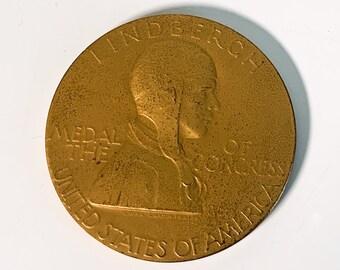 Vintage Charles Lindbergh Bronze US Medal of Congress Aviation Commemorative by Artist Laura Gardin Fraser - Recast Medal Ca 1960s