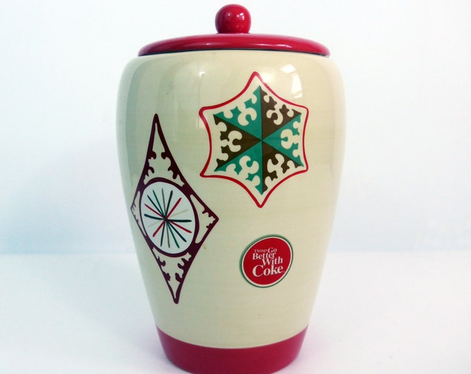Vintage Coke Cookie Jar - Things Go Better with Coke Holiday Jar - 1960s Advertising Red Ivory Retro Coke Collectible Jar w/ Lid Ceramic