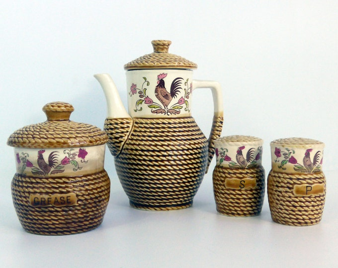 Vintage 6 Pc Kitchen Stove Set Post War Japan Rooster Coffee Pot Grease Jar Salt & Pepper - Brown Basket Weave w/ Ivory China Japan